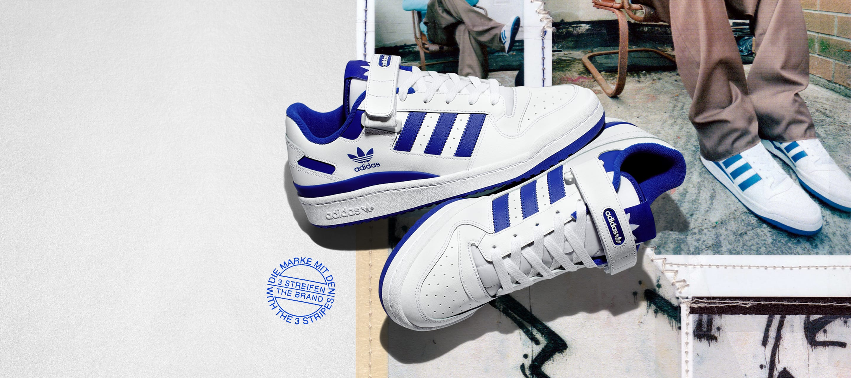 The new Forum Low in white and blue shown with collage backgound featuring product on model.
