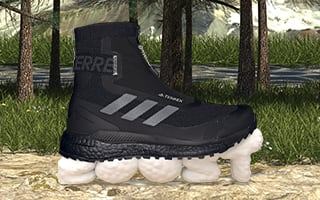 Outdoor shoe in front of terrain scene and character