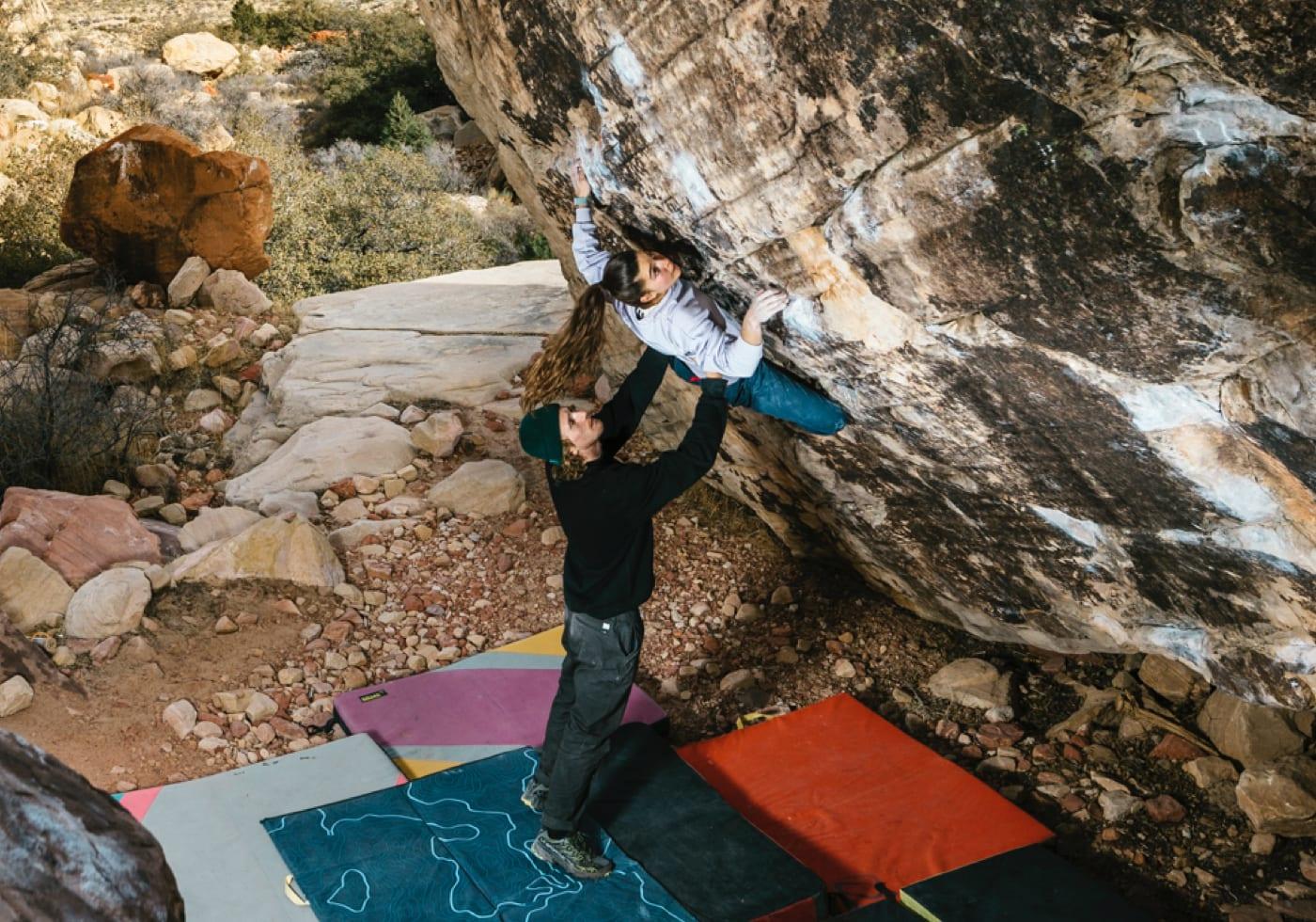 Janja Garnbret climbing indoors wearing 5.10 climbing shoes