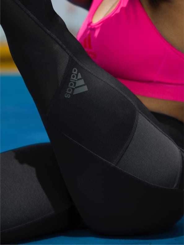 A montage of video and images, showing a range of youth female athletes training and playing sport, all in the adidas Techfit Period Proof Tights and Shorts.