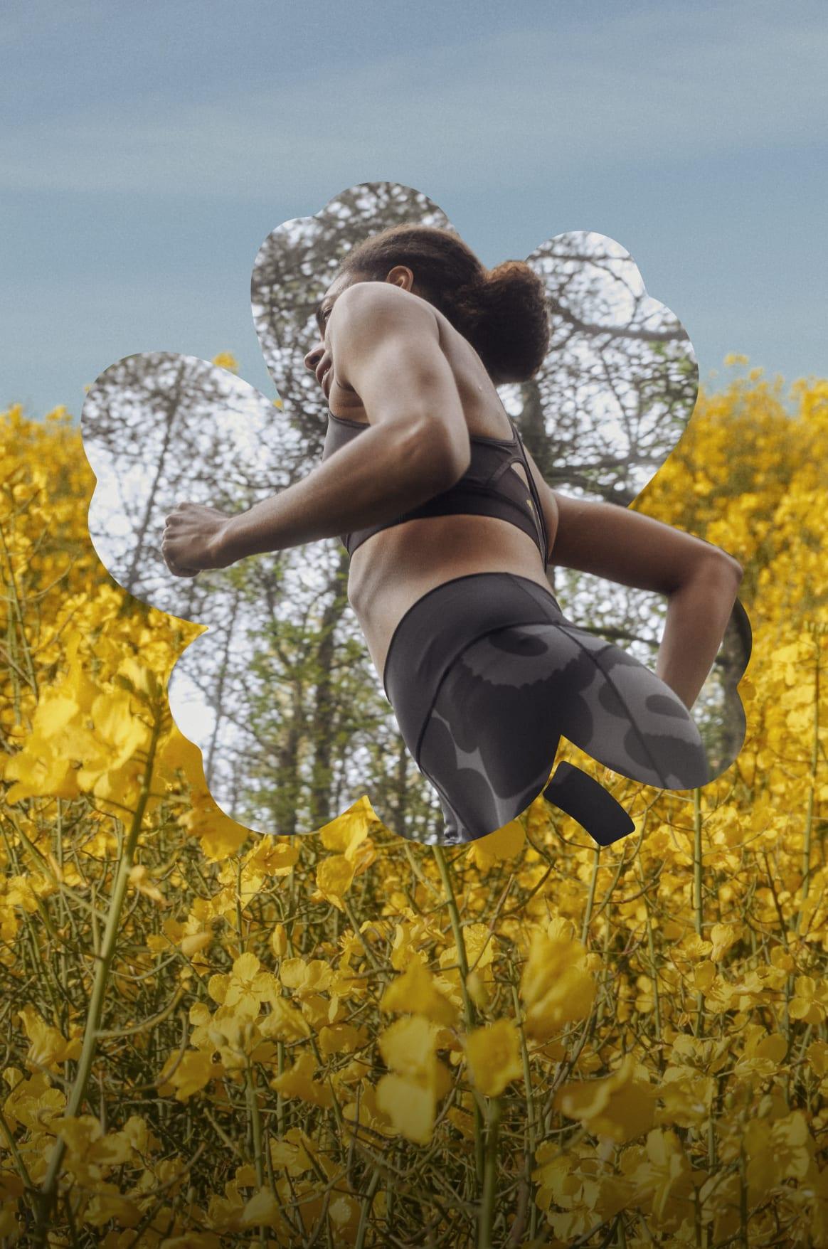 Female running in Marimekko