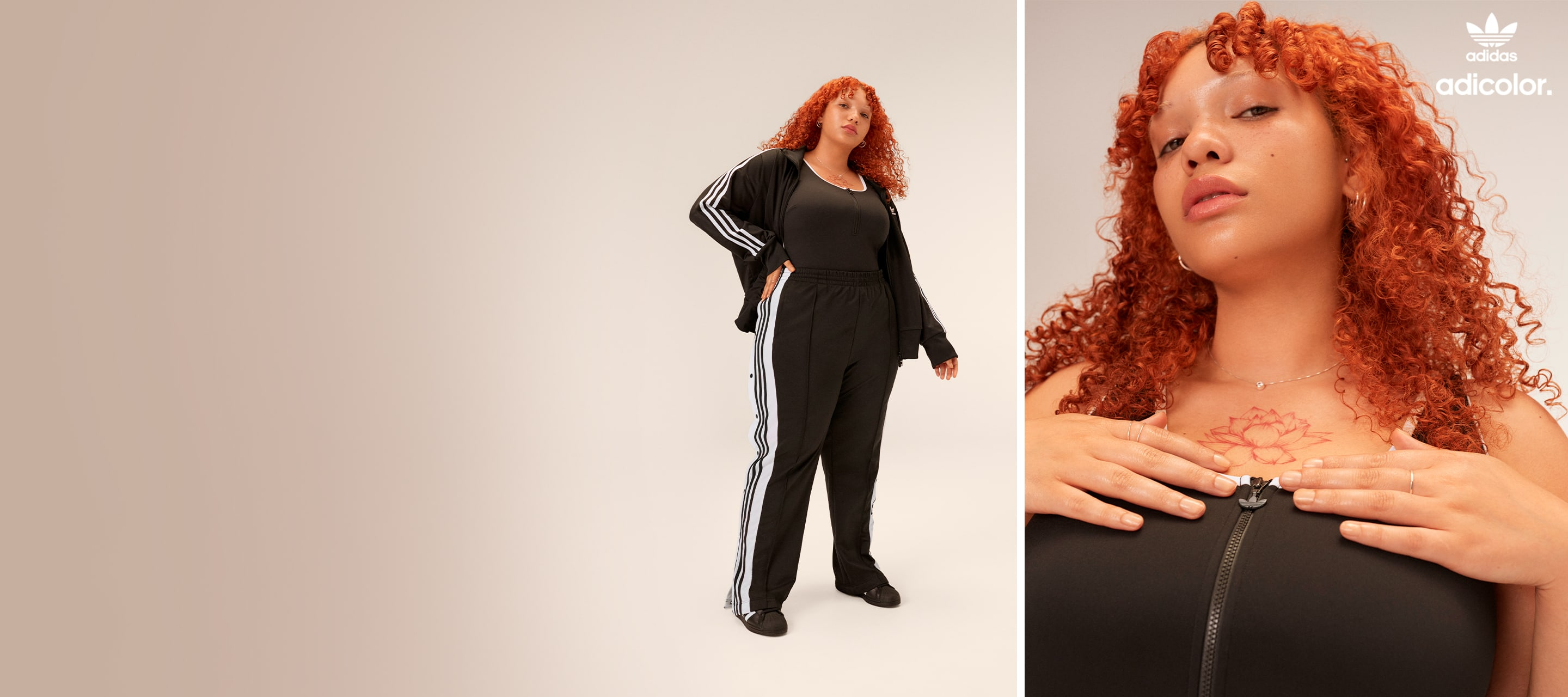 Expressive woman wears classic black adicolor outfit