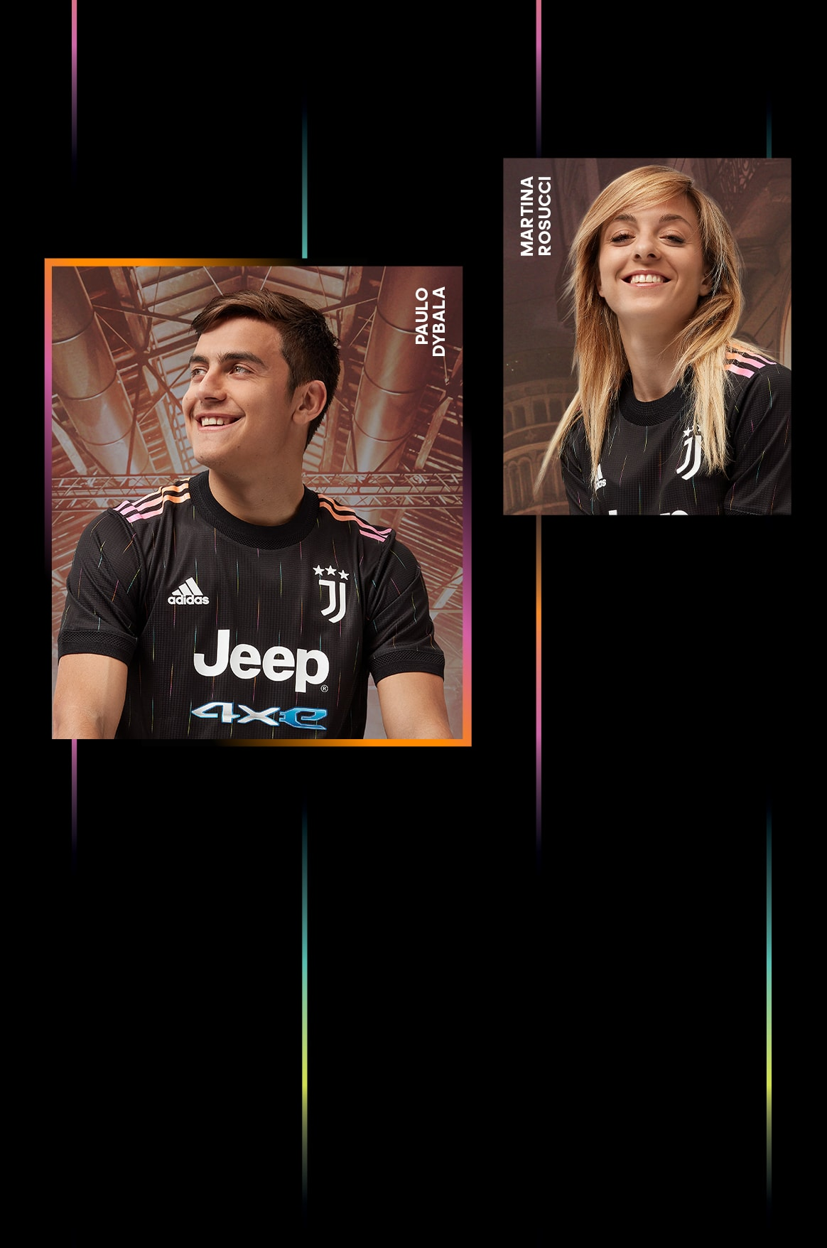 Male and female players wearing the Juventus Away Jersey