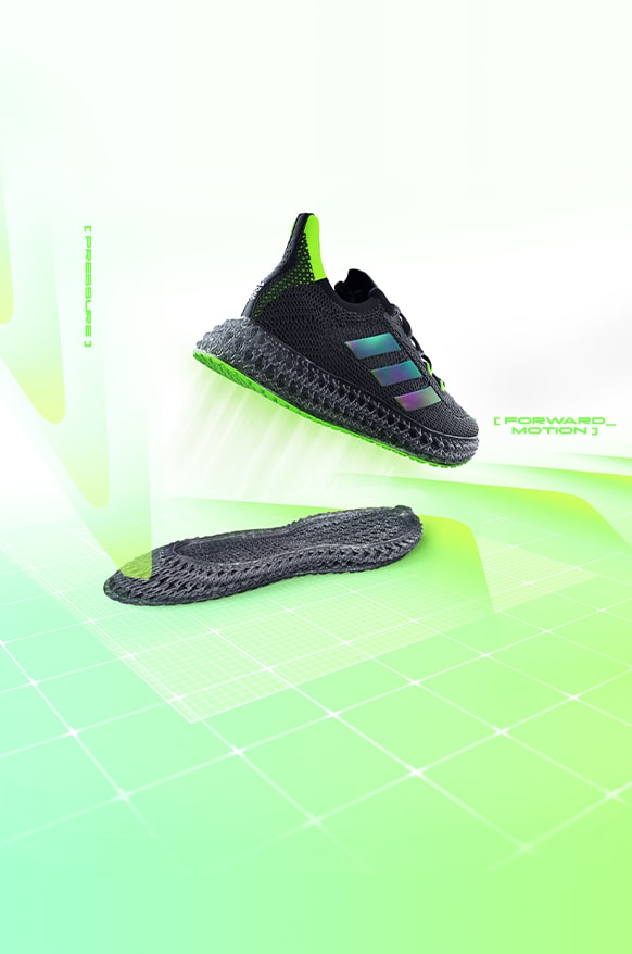 The new 4DFWD running shoe stepping forward while a seperate 3D printed lattice midsole shears forward underneath the shoe.