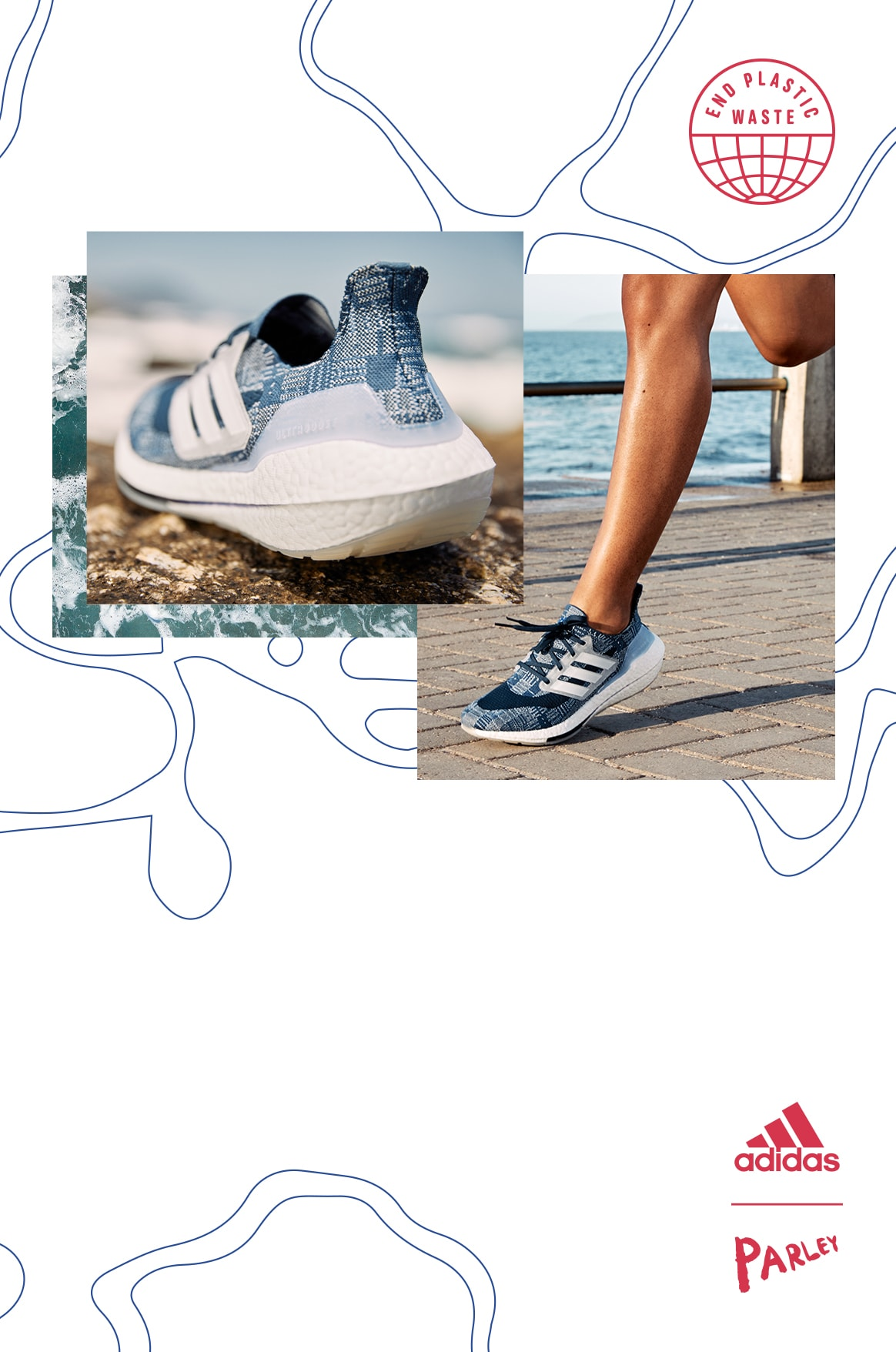 Close-up of a woman wearing Primeblue shorts and Ultraboost 21 running shoes