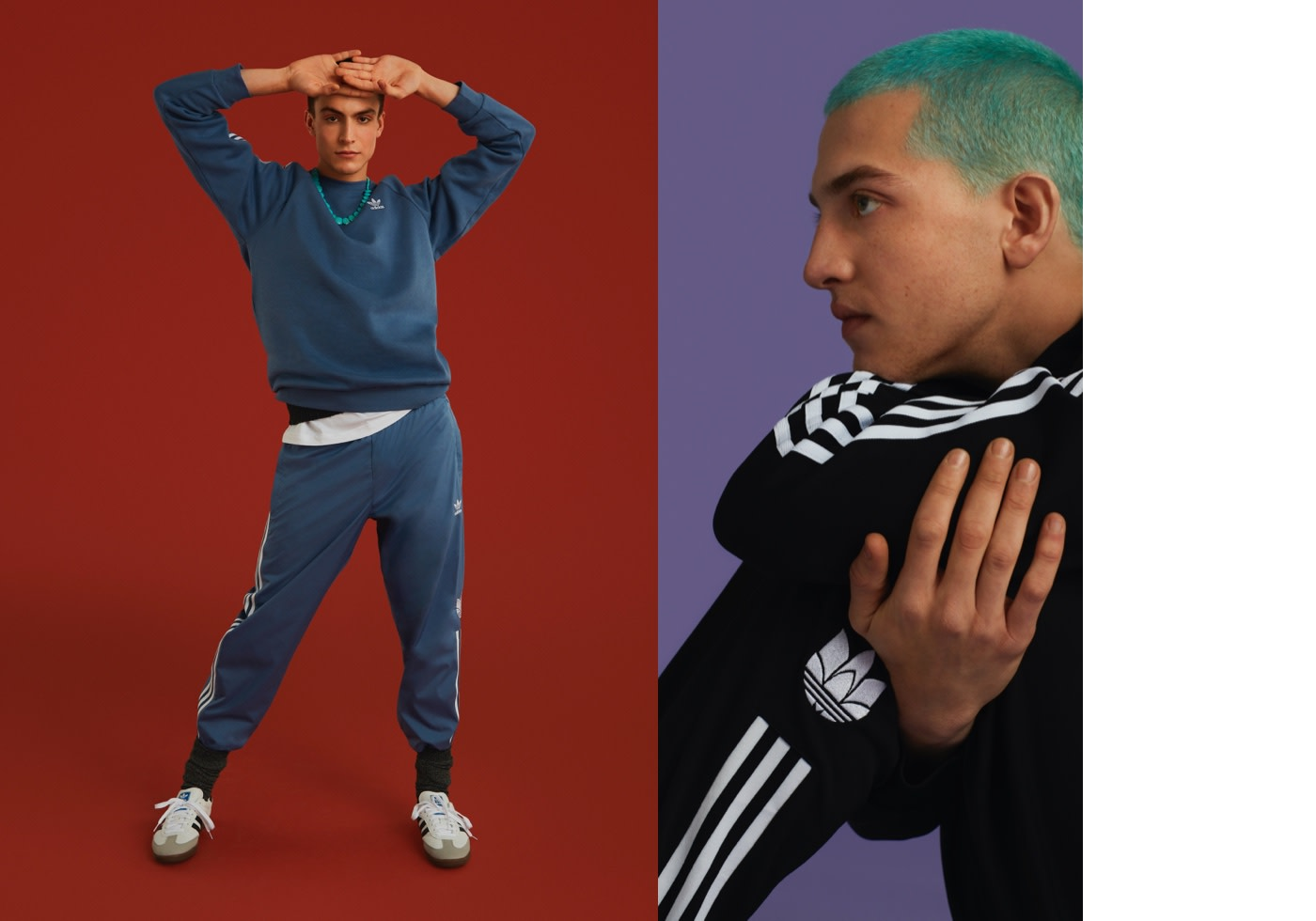 Guy standing in blue tracksuit and another guy with blue hair facing him.