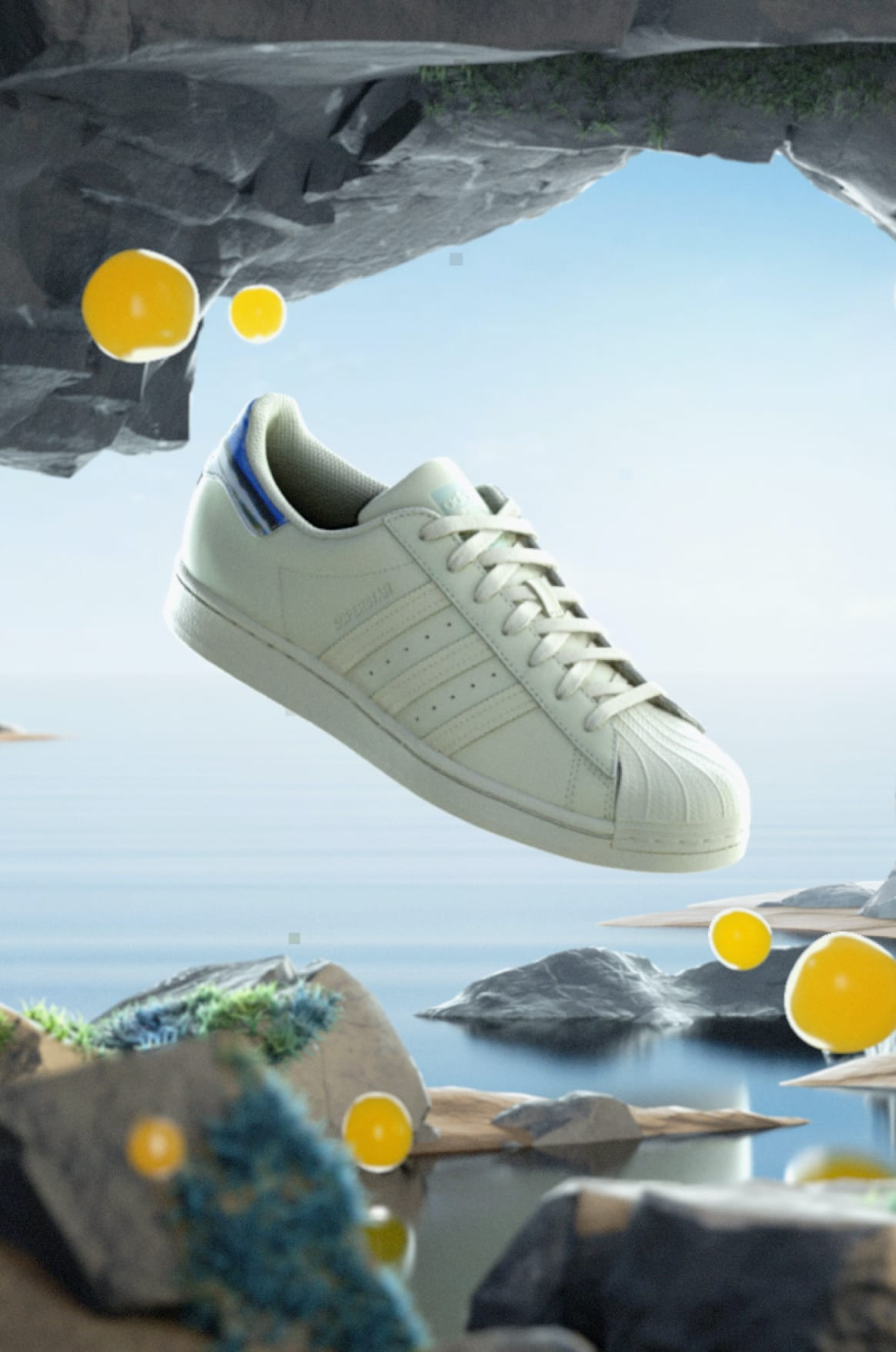Image of four summer footwear styles floating above water surrounded by yellow rocks.