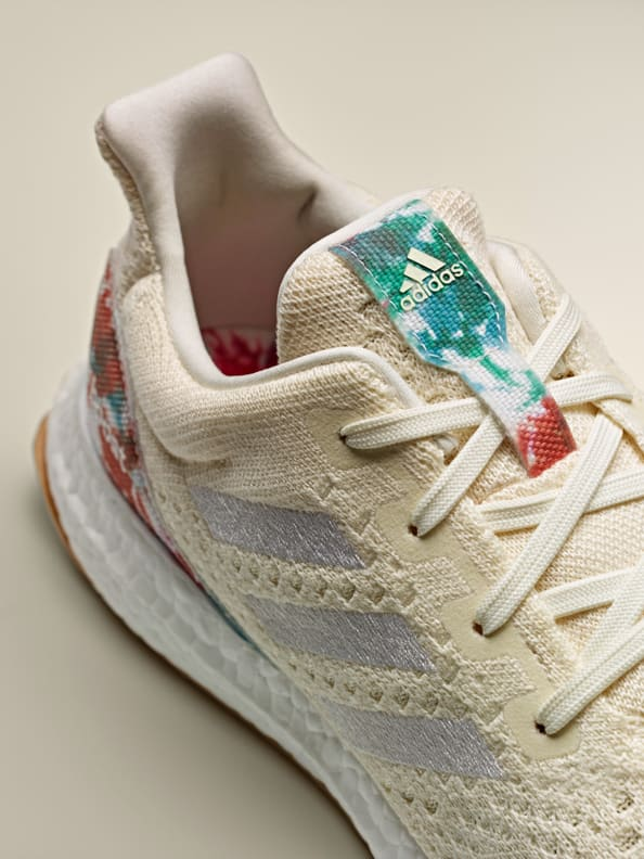 Tongue detail image of the new Ultraboost Uncaged Made with Nature Lab. Designing in balance with the planet. adidas FW21