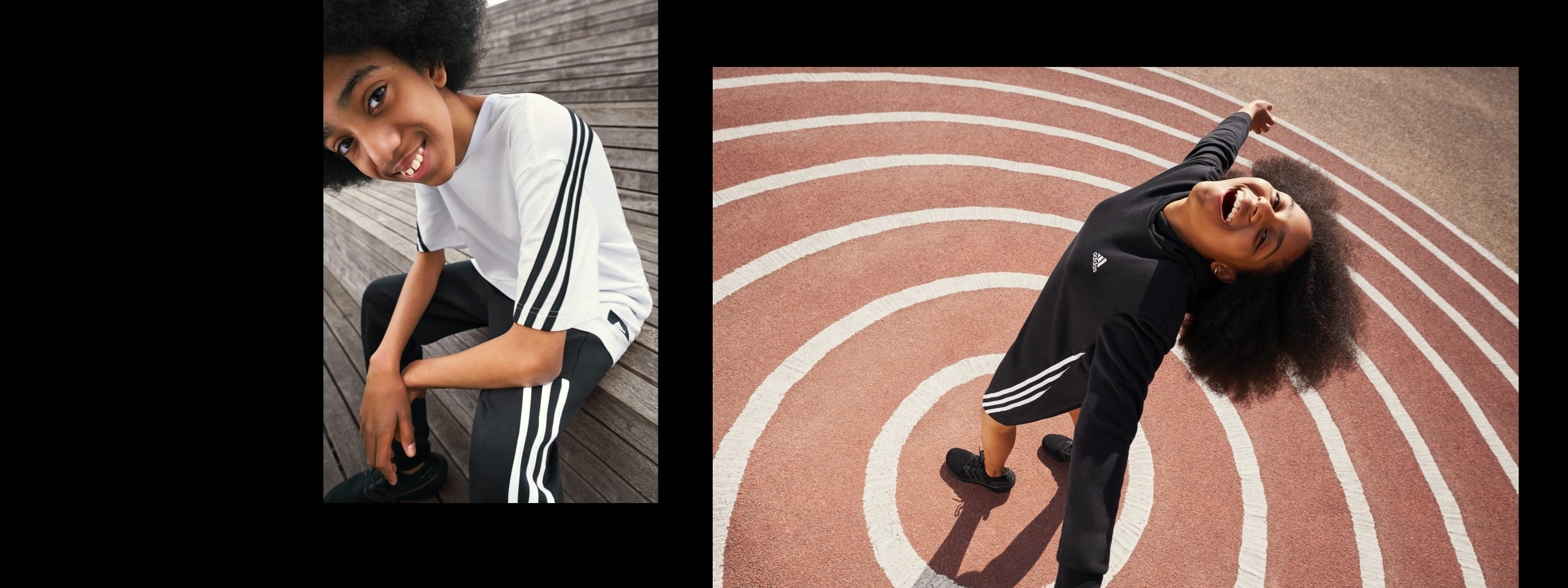 Two children wearing adidas clothing with the iconic three stripes.
